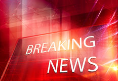 Graphical 3D breaking news text in big flat screen Royalty Free Stock Images