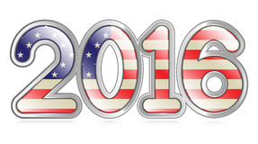 2016 Banner. A graphical depiction of the number 2016 with an american flag pattern Royalty Free Stock Images