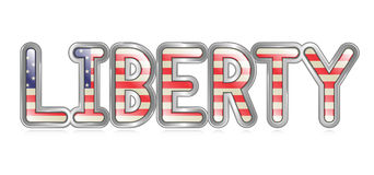 Liberty Banner. A graphical depiction of the word Liberty with an american flag pattern Royalty Free Stock Images