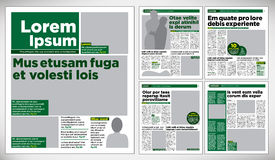 Graphical design newspaper. Graphical design green newspaper template Royalty Free Stock Image
