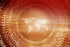 Graphical design with numbers and world map background Concept S Stock Image