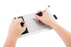 Graphical digital drawing board with the man. Stock Image