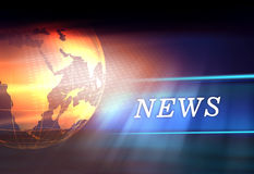 Graphical Digital News Background With Earth Globe on Floor Royalty Free Stock Photography