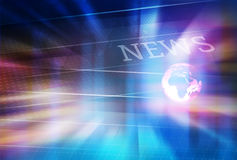 Graphical Digital News Background With Earth Globe on Floor. And Glowing Lights Stock Photos
