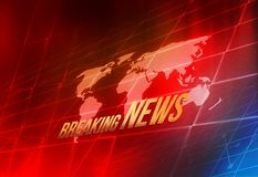 Graphical Digital World Breaking News background concept series. Graphical Digital World Breaking News background, World Map Inside Big Flat TV Screen Stock Photography