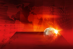 Graphical Digital World News background Concept Series 52. Graphical Digital World News background, Earth Globe On A Flat Stage in Front of  Red Warm Color Theme Royalty Free Stock Image