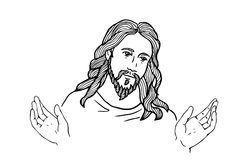 Graphical face of Jesus .Face of Jesus. open hands Royalty Free Stock Images