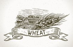 Graphical farm with sheaf of wheat and tapes. Graphical image of a farm with a sheaf of wheat in the foreground and a design element - tapes for inscription Stock Photography