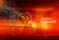 Graphical Finance and Global Business Background Concept Series. Graphical Finance and Global Business Background with Earth Globe and Round Circles and Dollar Stock Images