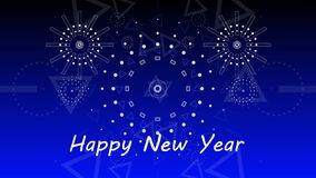 Graphical fireworks explosion to happy new year 4K stock illustration