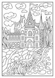 Graphical illustration of a castle on the background of nature 3 Stock Photo