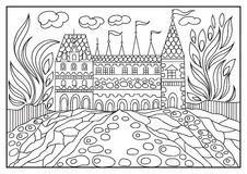 Graphical illustration of a castle on the background of nature 1 Stock Images