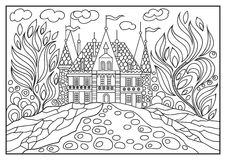 Graphical illustration of a castle on the background of nature 6 Stock Photography