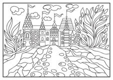 Graphical illustration of a castle on the background of nature 2 Stock Photography