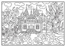 Graphical illustration of a castle on the background of nature 8 Stock Image
