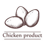 Graphical illustration of chicken products with inscription. Royalty Free Stock Image