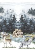 Graphical illustration of a countryside landscape, with animals and trees. Hand drawn watercolor illustration. Forest