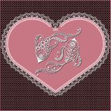 Graphical illustration of the heart with the sign of the zodiac. Decorative zodiac sign Pisces. Horoscope and astrology astronomy-symbol. Lace heart-concept of Stock Images