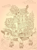 Graphical illustration. Travel . Tortoise riding rollers. House on wheels . Relocation.  Fairy town .sketch. Retro style. Royalty Free Stock Image