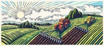 Graphical landscape and two tractors. Royalty Free Stock Photography