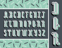 Graphical mint font with 3d effect shadow. Vector modern design Stock Photos