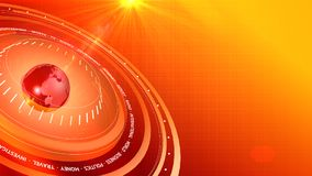 3D Graphical Red-Orange Breacking News Digital Background 3D. Graphical News Red-Orange Digital Background Stock Photo