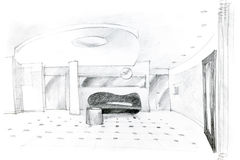 Graphical pencil sketch of hall interior design Stock Images
