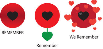 Graphical Poppies x 3. Graphical representation of the poppy - the symbol of Remembrance Day in the UK held at 11 o'clock on the 11th day of the 11th month Stock Illustration