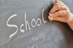 Graphical representation of the word, school, written with chalk on blackboard stock images