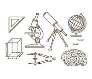 Graphical science and knowledge symbols Royalty Free Stock Photo