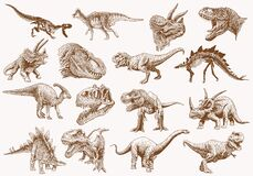 Free Graphical Set Of Dinosaurs, Sepia Vector Illustration Royalty Free Stock Image - 177859166