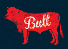 Graphical silhouette bull. Stock Image