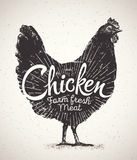 Graphical silhouette chicken. Stock Photo