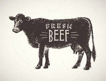 Graphical silhouette cow. Stock Photo