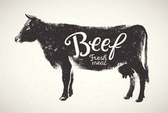 Graphical silhouette cow. Stock Photos
