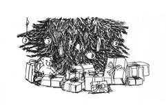 Graphical sketch Christmas tree Stock Image
