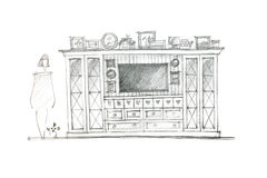 Graphical sketch of an entertainment wall for living room interi Stock Photography
