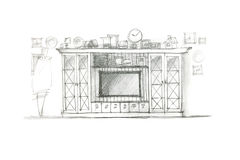 Graphical sketch of an entertainment wall for playing room drawn Royalty Free Stock Image