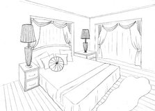 Graphical sketch of an interior apartment Royalty Free Stock Images
