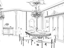 Graphical sketch of an interior apartment. Royalty Free Stock Photography