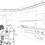 Graphical sketch of an interior apartment. Stock Image