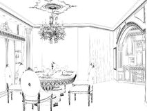 Graphical sketch of an interior apartment. Stock Photography
