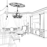 Graphical sketch of an interior apartment. Stock Photo