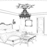 Graphical sketch of an interior apartment, vintage bedroom Royalty Free Stock Image