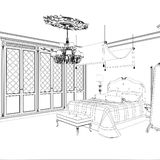 Graphical sketch of an interior apartment, vintage bedroom Stock Images