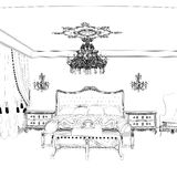 Graphical sketch of an interior apartment, vintage bedroom Royalty Free Stock Images
