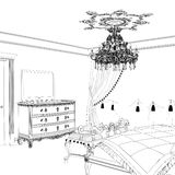 Graphical sketch of an interior apartment, vintage bedroom Stock Photography