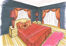 Graphical sketch of an interior bedroom Stock Photography