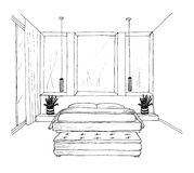 Graphical sketch of an interior bedroom Royalty Free Stock Photography