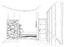 Graphical sketch of an interior Royalty Free Stock Photography